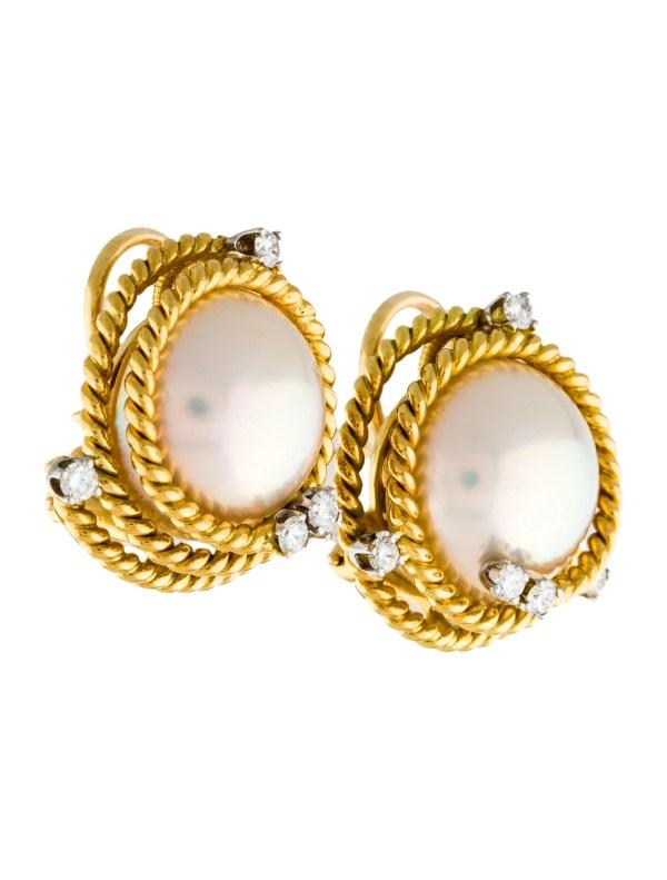 Tiffany Pearl Earrings Diamond