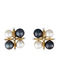 Verdura Pearl Cluster and Diamond Clip-On Earrings ...