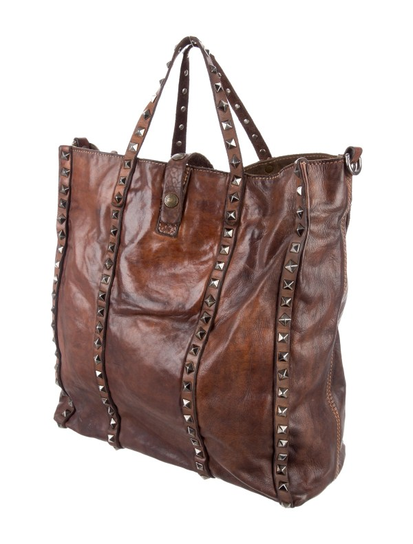 Campomaggi Studded Distressed Leather Satchel - Handbags