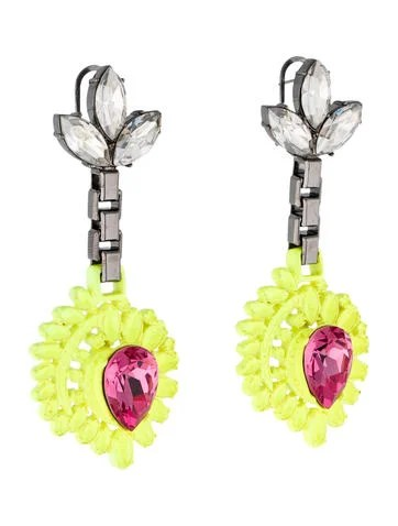 Mawi Neon Yellow Honeycomb Earrings