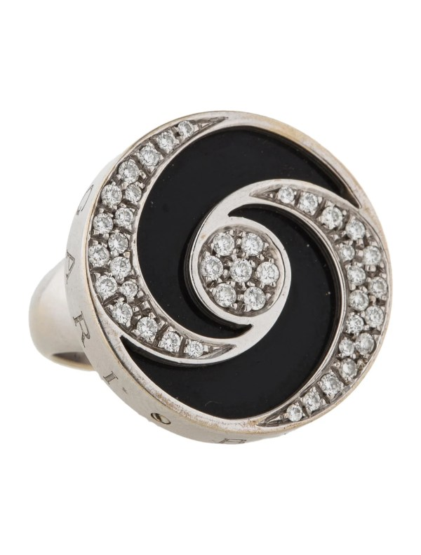 Bvlgari Diamond And Black Onyx Swirl Ring - Jewelry