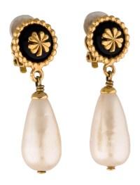 Chanel Faux Pearl Drop Earrings - Earrings - CHA73578 ...
