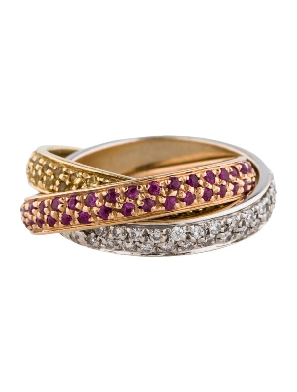 Tri-color Diamond Ruby And Yellow Sapphire Rolling Rings