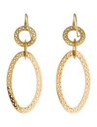 Ray Griffiths 18K Cutout Oval Drop Earrings - Earrings ...