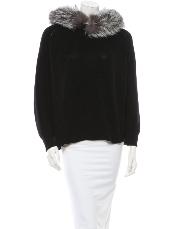Yves Saint Laurent Fox Fur Trimmed Sweater With Tags