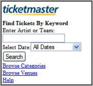 Early Version of Ticketmaster's Mobile Website