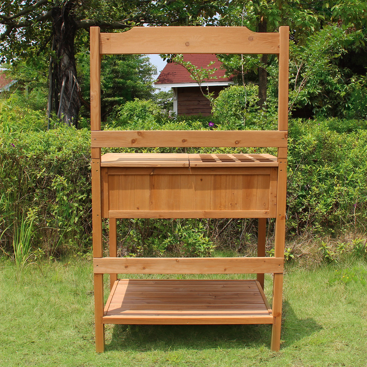merry garden adirondack chair desk casters products wood potting bench with recessed storage