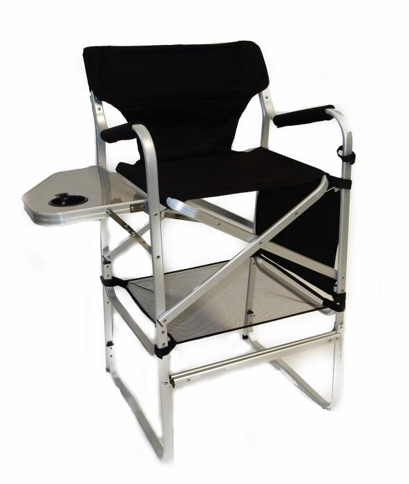 Deluxe Tall Director Chair w/ Side Table and Cup Holder