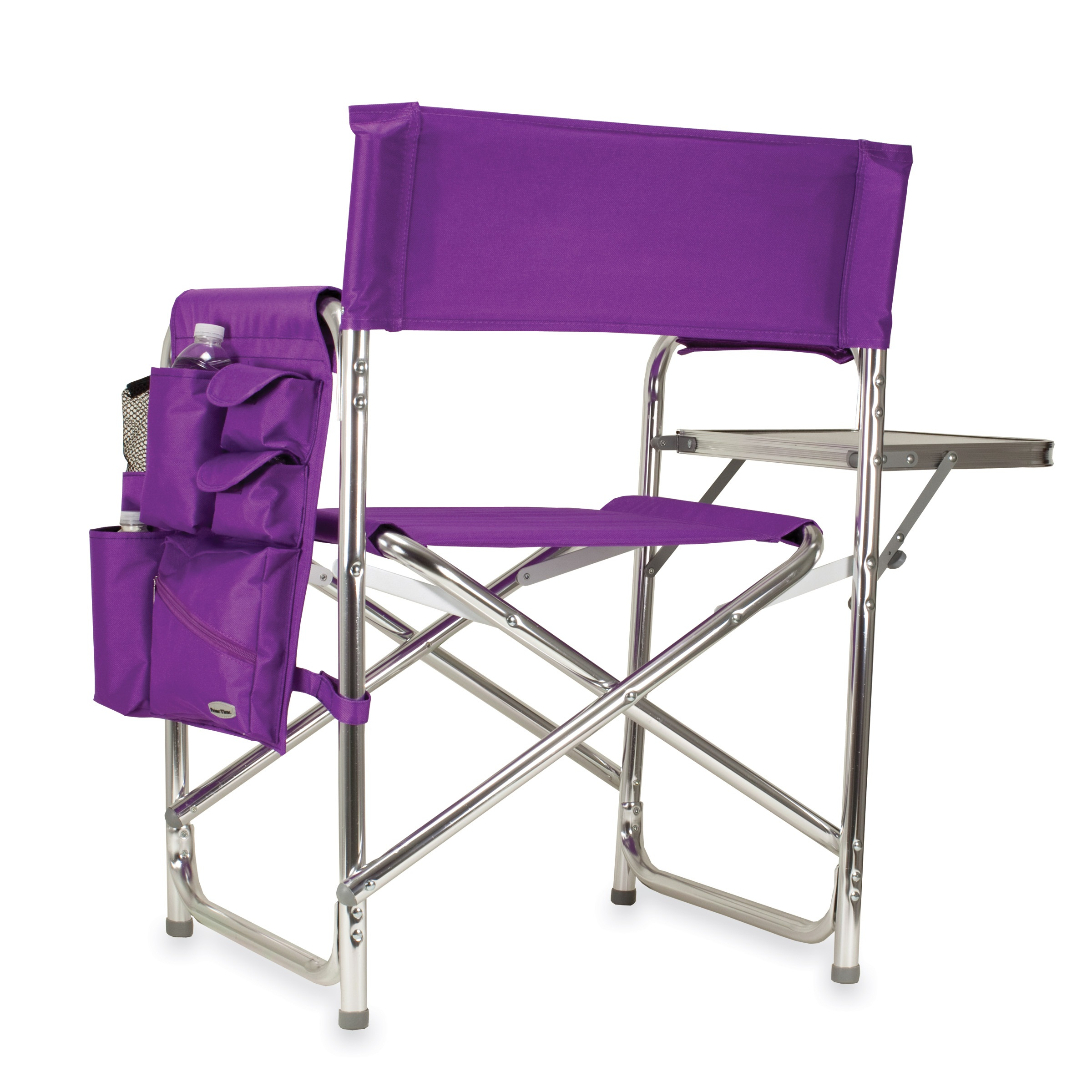 portable picnic chair seat pockets for school chairs time purple folding sports camping