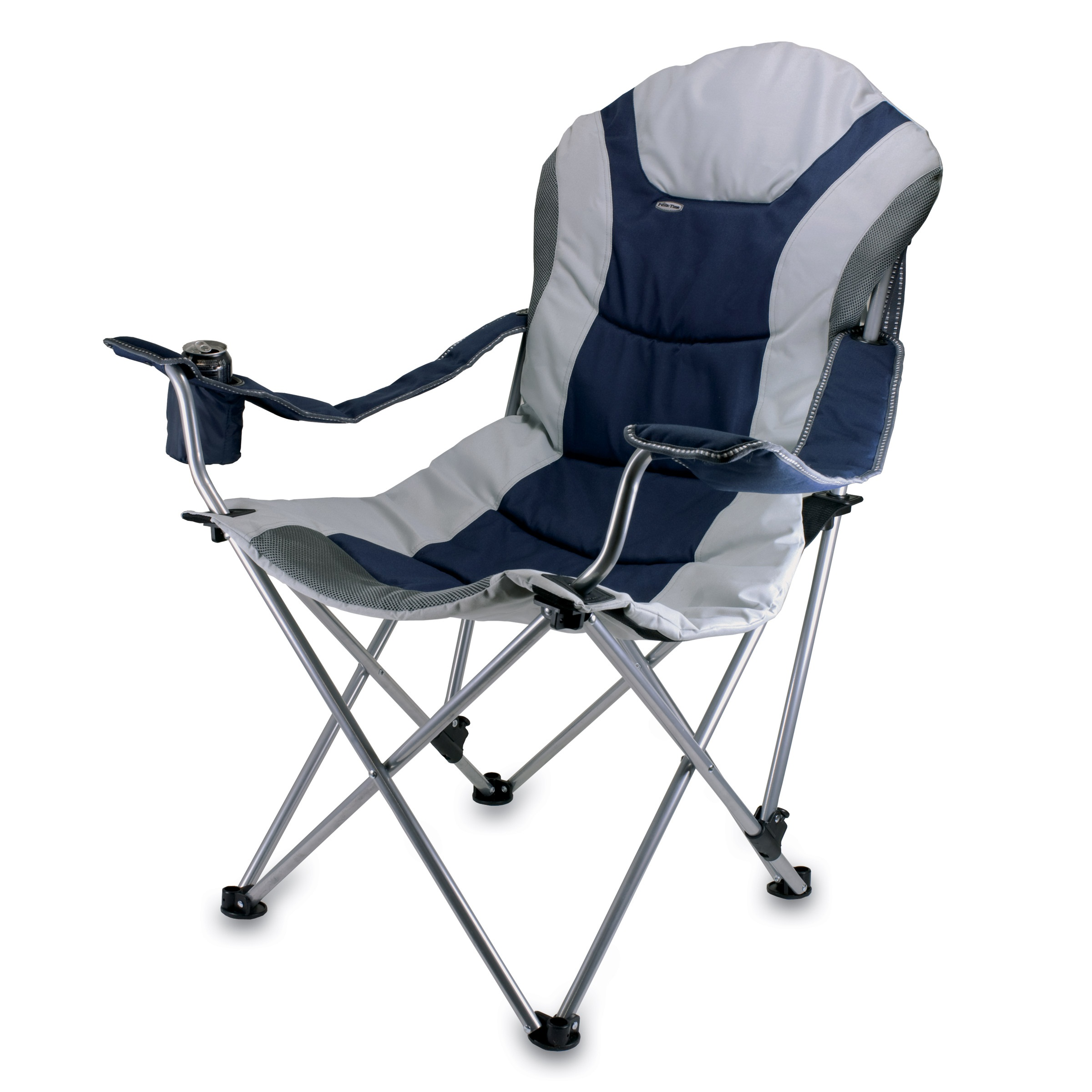 Picnic Chair Picnic Time Reclining Camp Chair Navy And Gray
