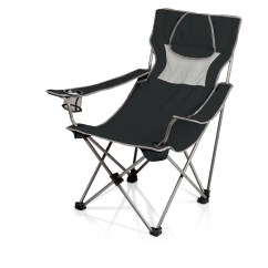 Picnic Time Folding Chair Ergonomic Ball Campsite Camp Black Grey
