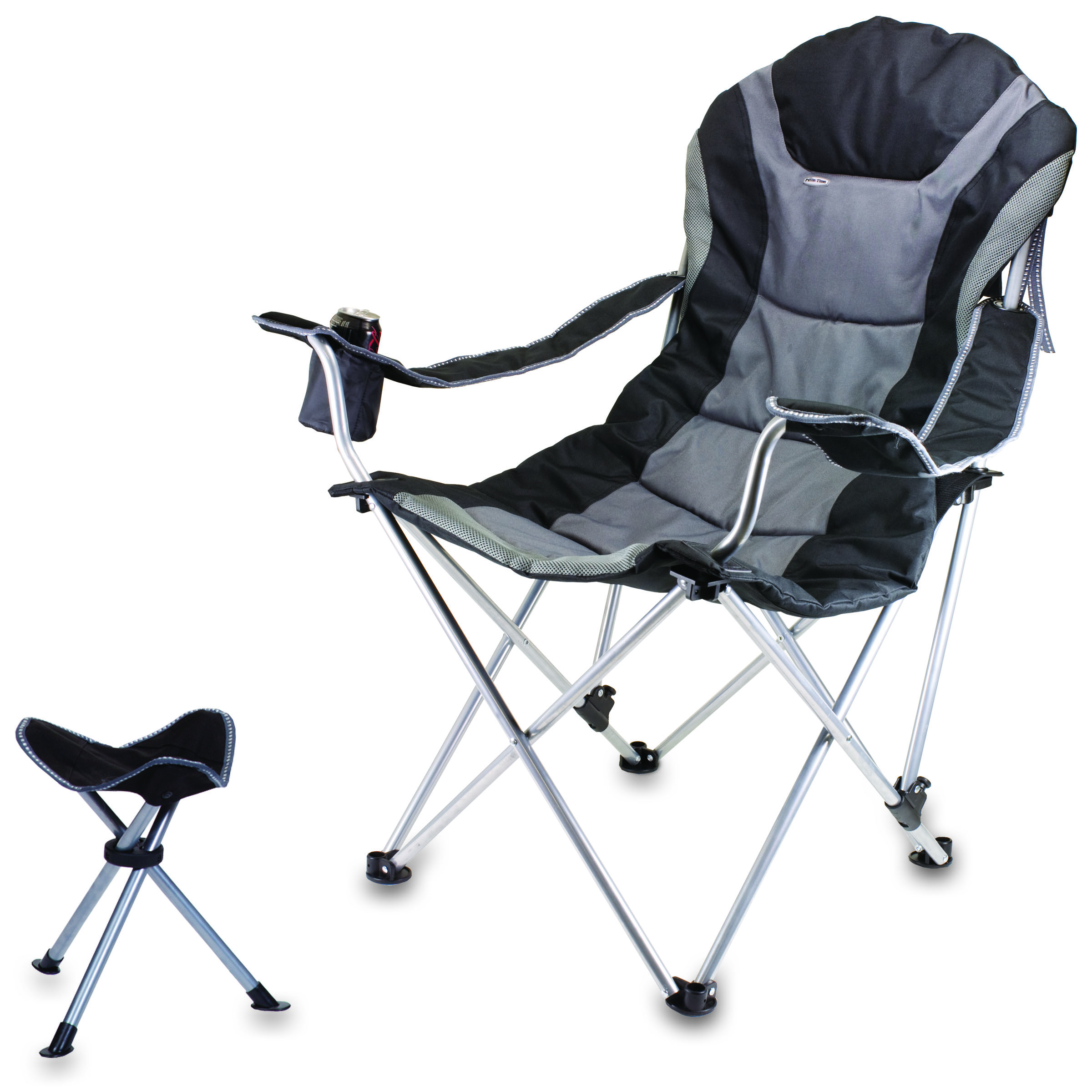 Camping Chair With Footrest Picnic Time Reclining Camp Chair With Footrest Black Grey