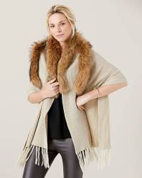 James Lakeland Faux Fur Trim Shawl | Marisota