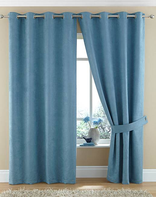 Faux Suede Lined Eyelet Curtains  Jacamo