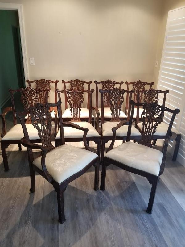 maitland smith dining chairs rectangular rubber chair glides antiques art vintage mahogany chippendale style set of 10