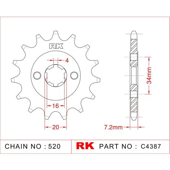 Ktm DUKE 125 RK Çelik Ön Dişli C4387-14 (2011-2018) Fiyatı