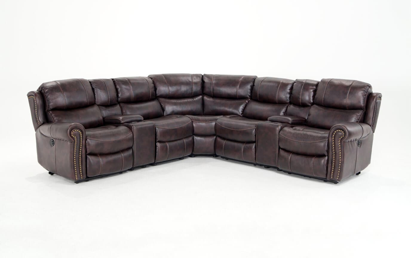 gladiator power dual reclining sofa reviews broyhill green plaid lannister seven piece sectional bob 39s discount furniture