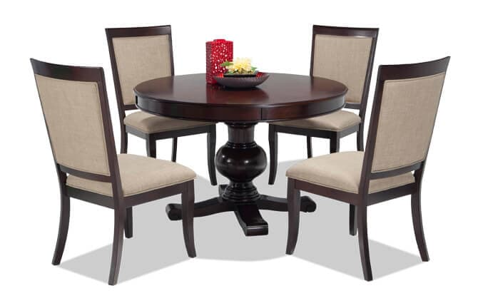 cheap living room table sets choosing a paint color for dining bobs com gatsby round 5 piece set with side chairs