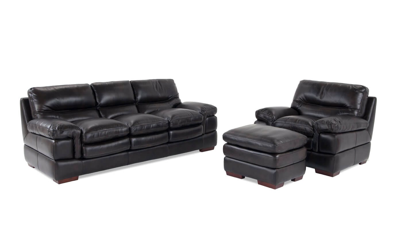 Leather Chair And Ottoman Carter Leather Sofa Chair Ottoman