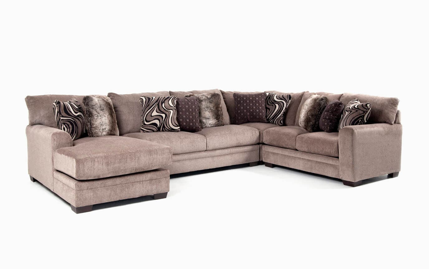 right arm facing sofa left chaise farm style table luxe 4 piece sectional with bob
