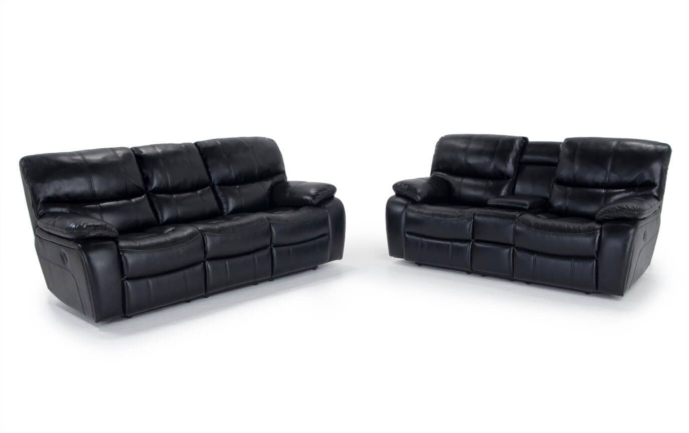 black reclining sofa with console emily scs avenger power loveseat gallery slider image 1