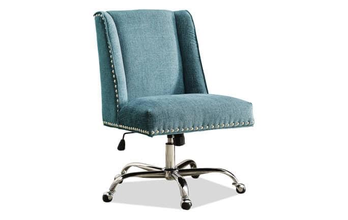 turquoise office chair sofa with ottoman chairs bobs com sofia aqua chrome