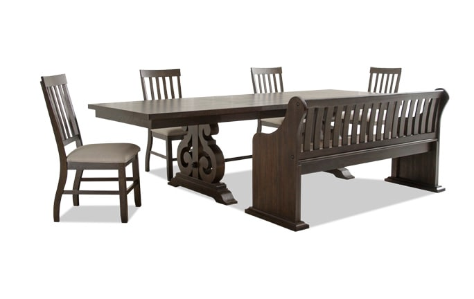 kitchen table with bench and chairs classics cabinets dining room sets bobs com sanctuary 6 piece set full back storage