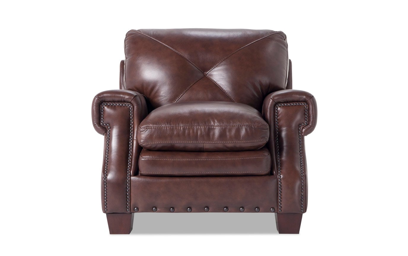 Brown Leather Chairs Kennedy Gray Leather Chair