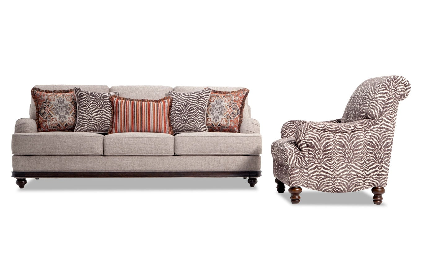 Zebra Accent Chair Cora Sofa And Zebra Accent Chair Bobs