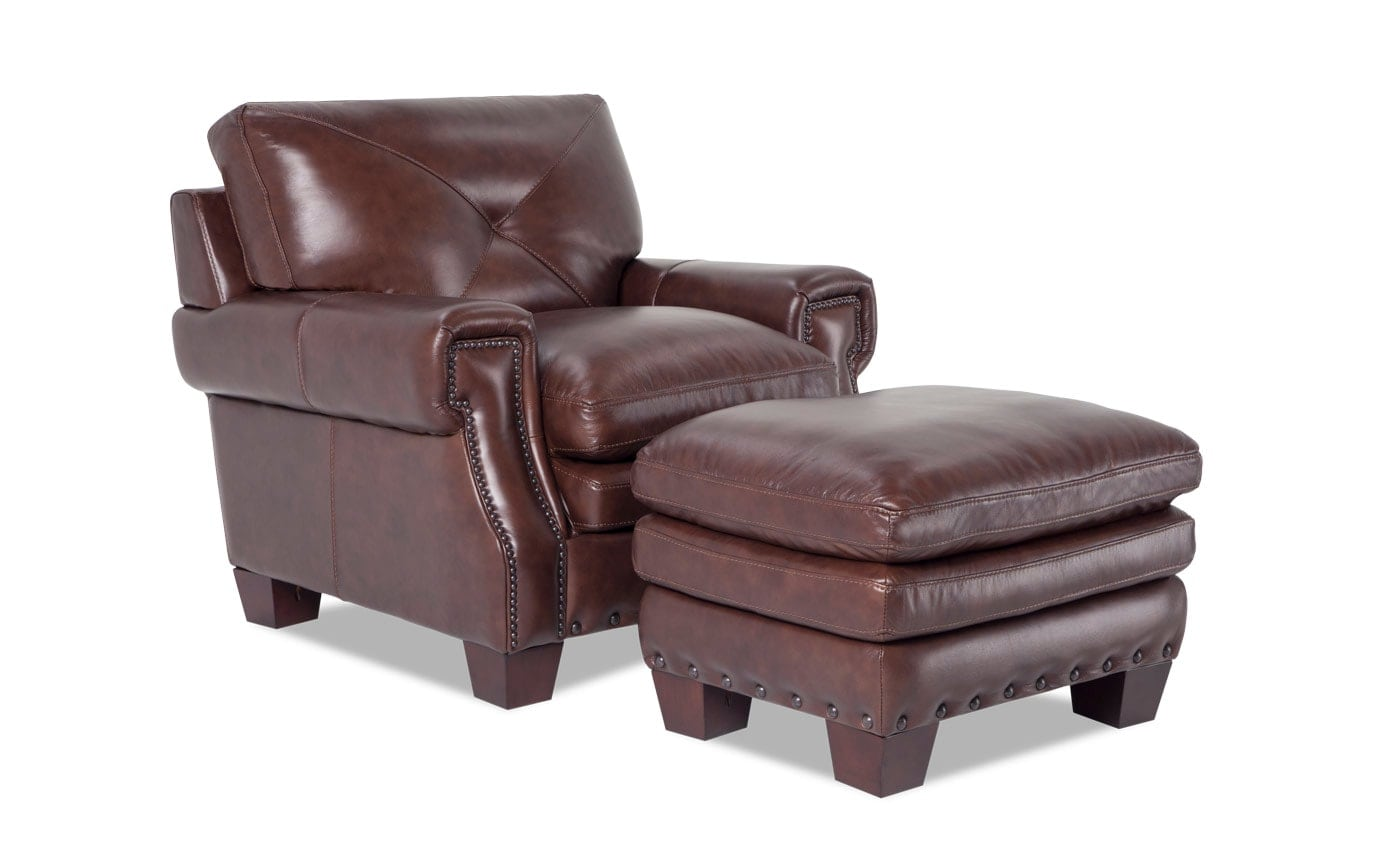 Leather Chairs With Ottoman Kennedy Brown Leather Chair Ottoman