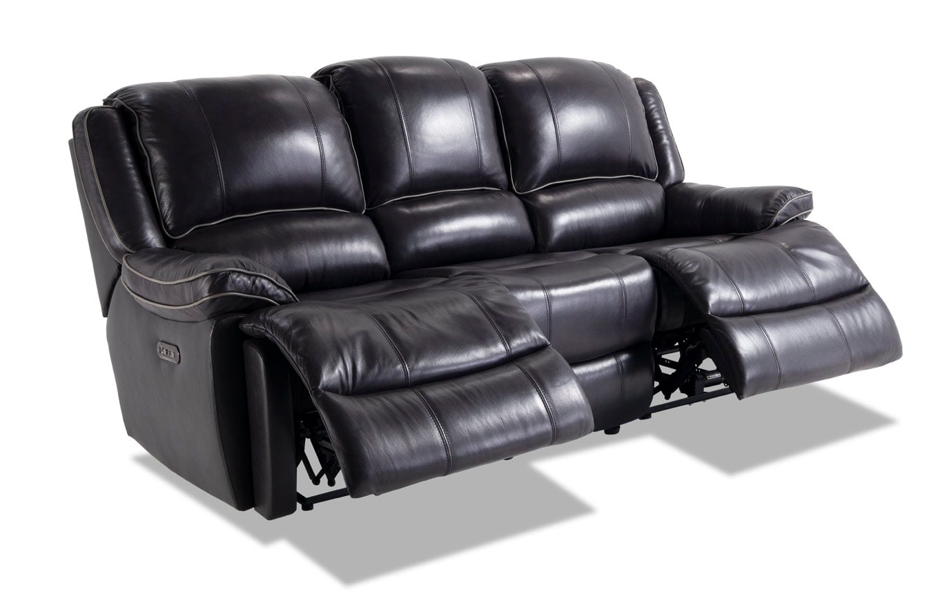 reclining leather sofas alessia sofa reviews phoenix black power bob s discount furniture