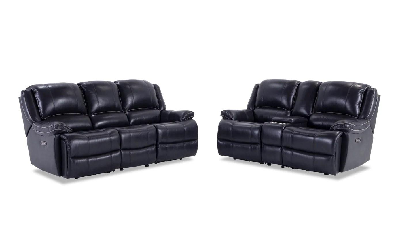 black reclining sofa with console sleeper sarasota fl phoenix leather power loveseat bobs com gallery slider image 2