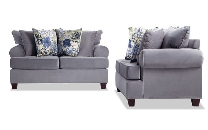 living room with loveseat and chairs shabby chic furniture sets bobs com monica set