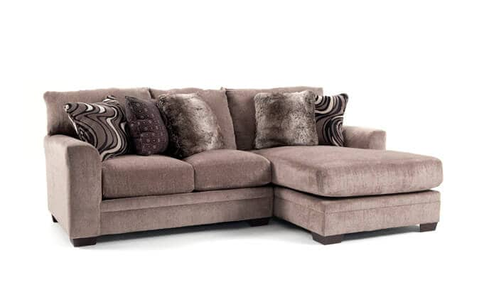 chocolate brown leather sectional sofa with 2 storage ottomans condo 3 seater amart sectionals bobs com luxe piece left arm facing chaise