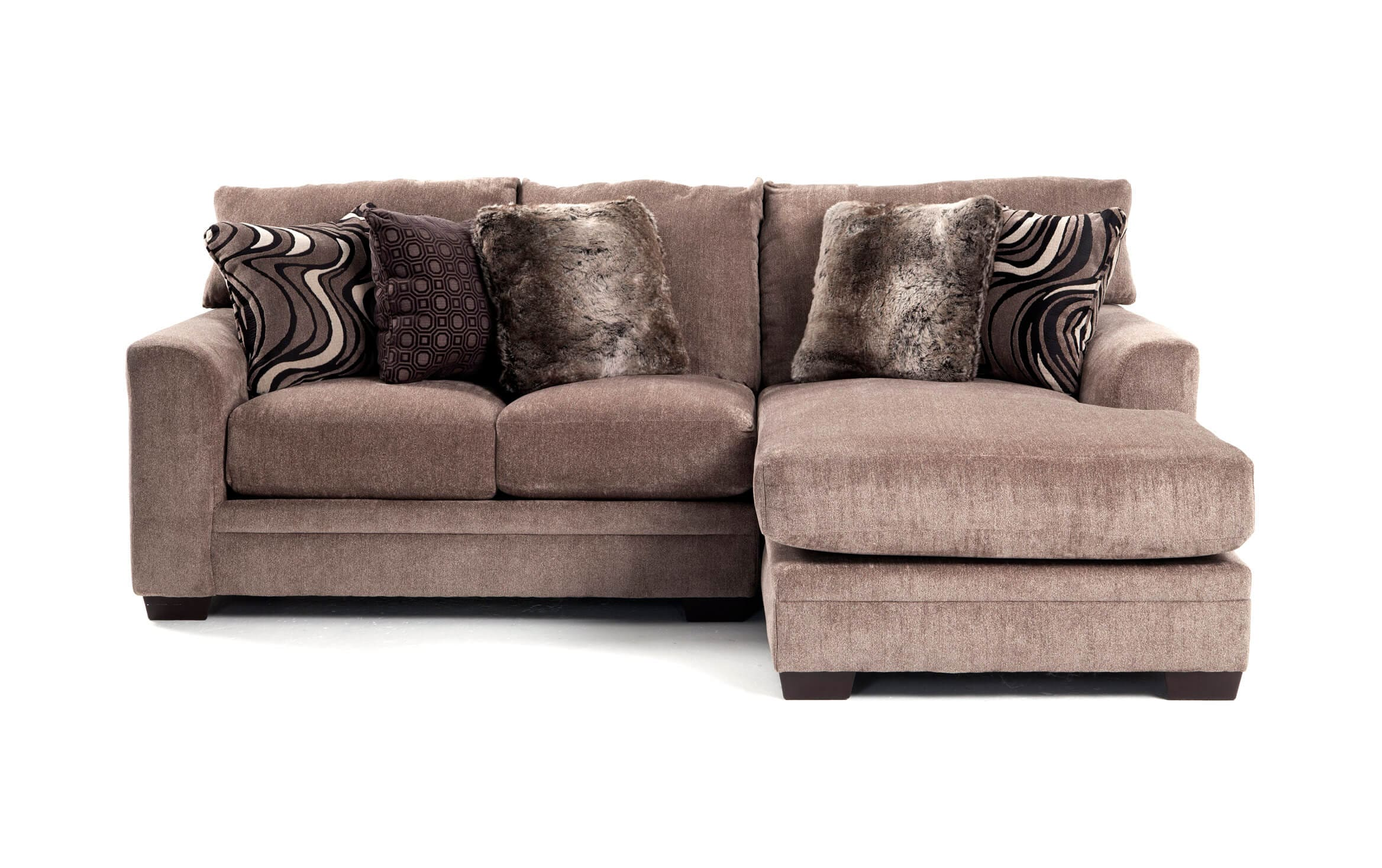 luxe gray 2 piece left arm facing sectional with chaise