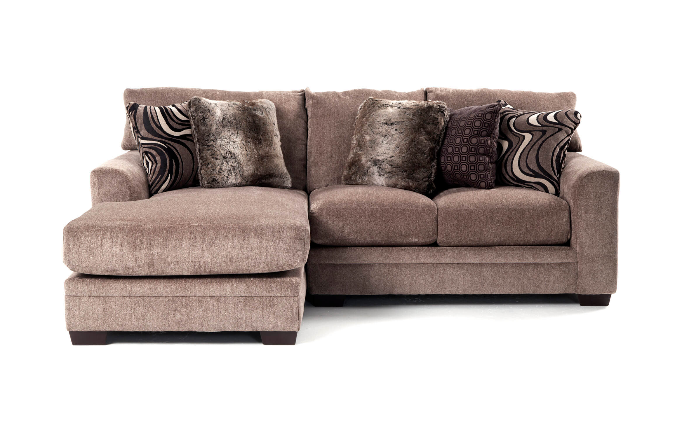 luxe gray 2 piece right arm facing sectional with chaise