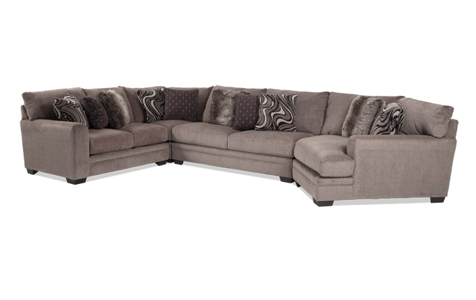 2 piece living room furniture design with grey sofa sectionals bobs com luxe 4 sectional cuddler chaise