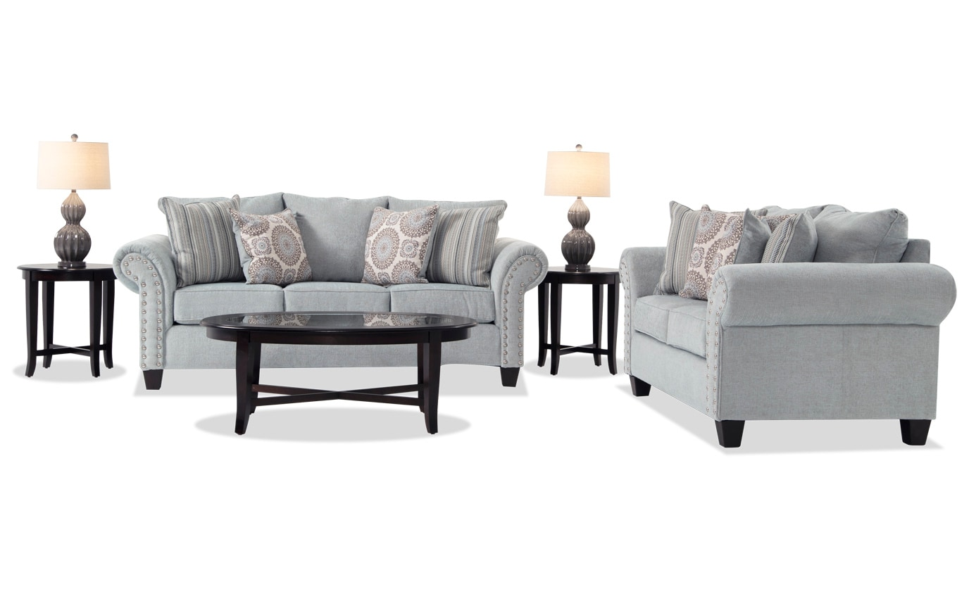 7 piece living room package bench coffee table artisan set bobs com gallery slider image 1