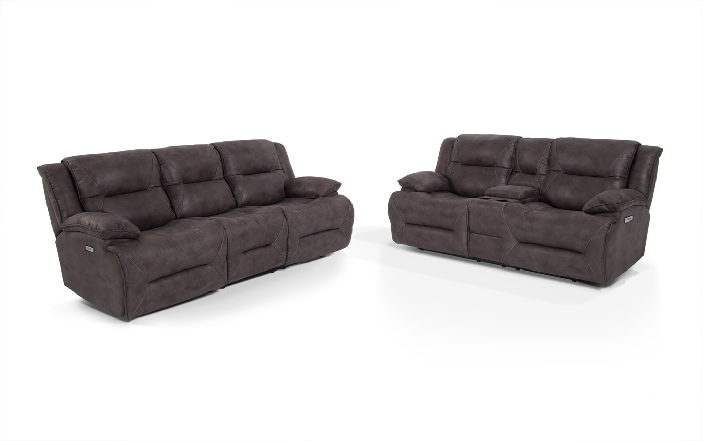 grey power reclining sofa black bonded leather sectional jennings console loveseat bobs com gallery slider image 1