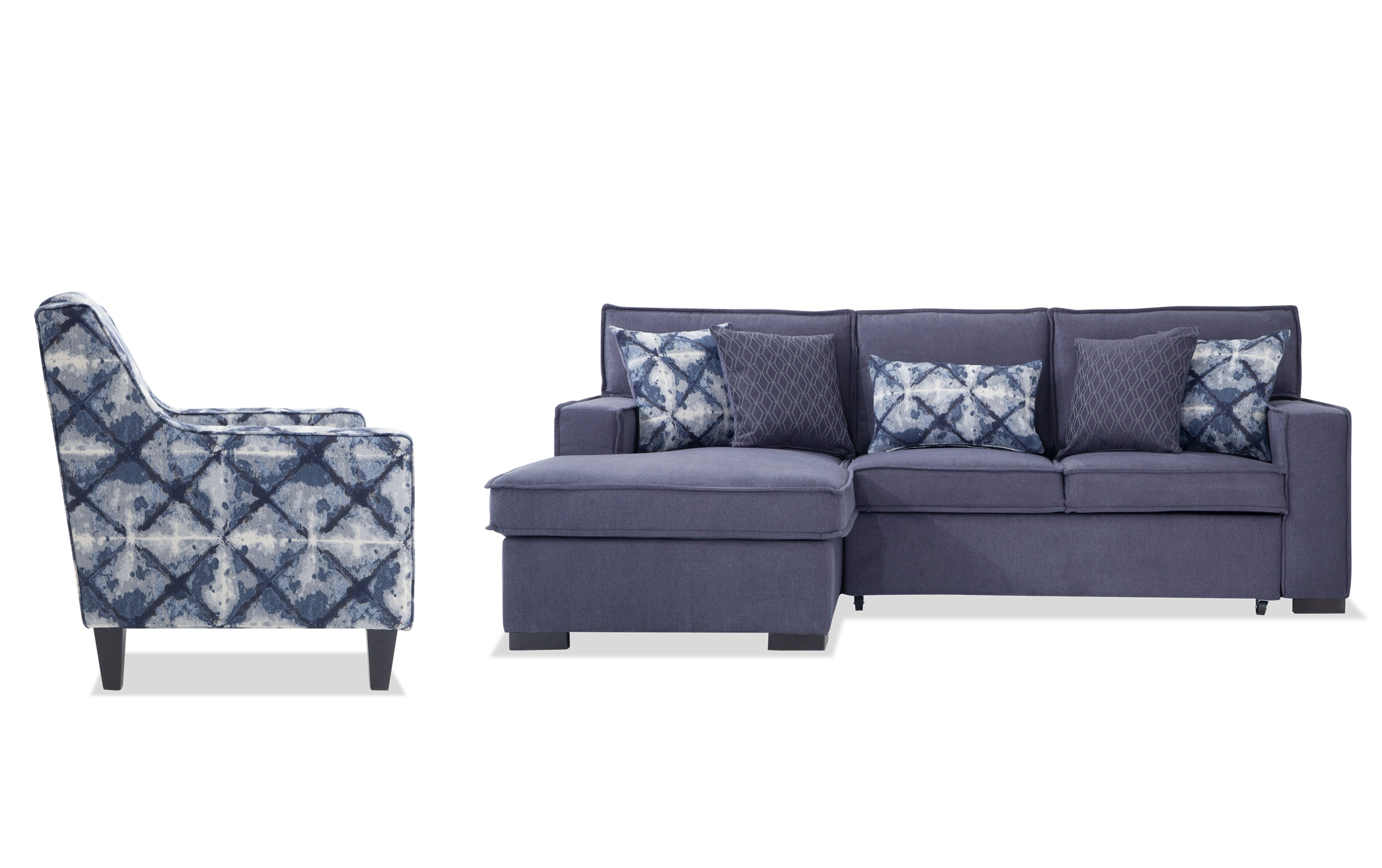 playscape denim right arm facing sectional with accent chair