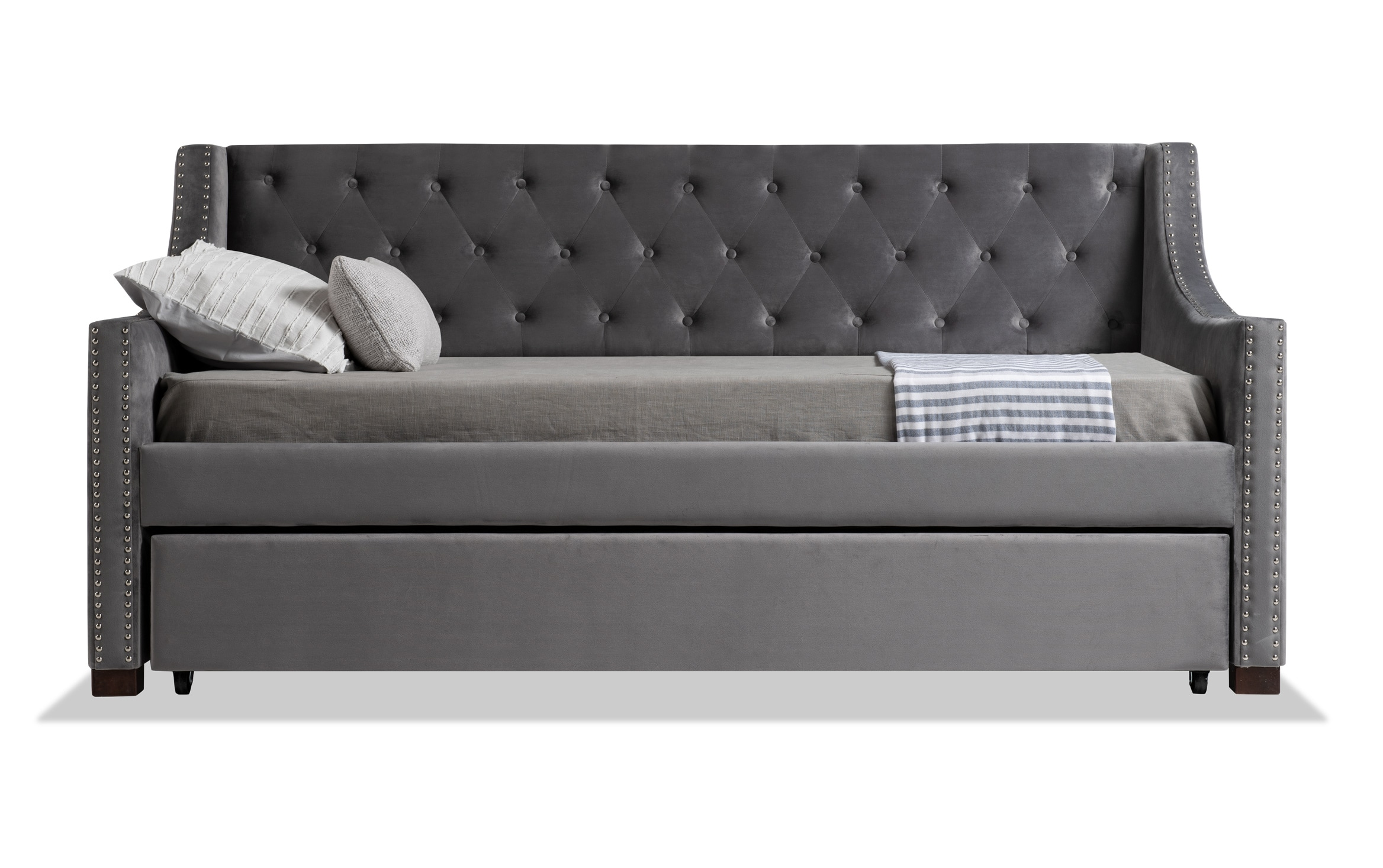 Chloe Twin Gray Upholstered Daybed With Twin Trundle 2 Twin Perfection Mattresses Bobs Com