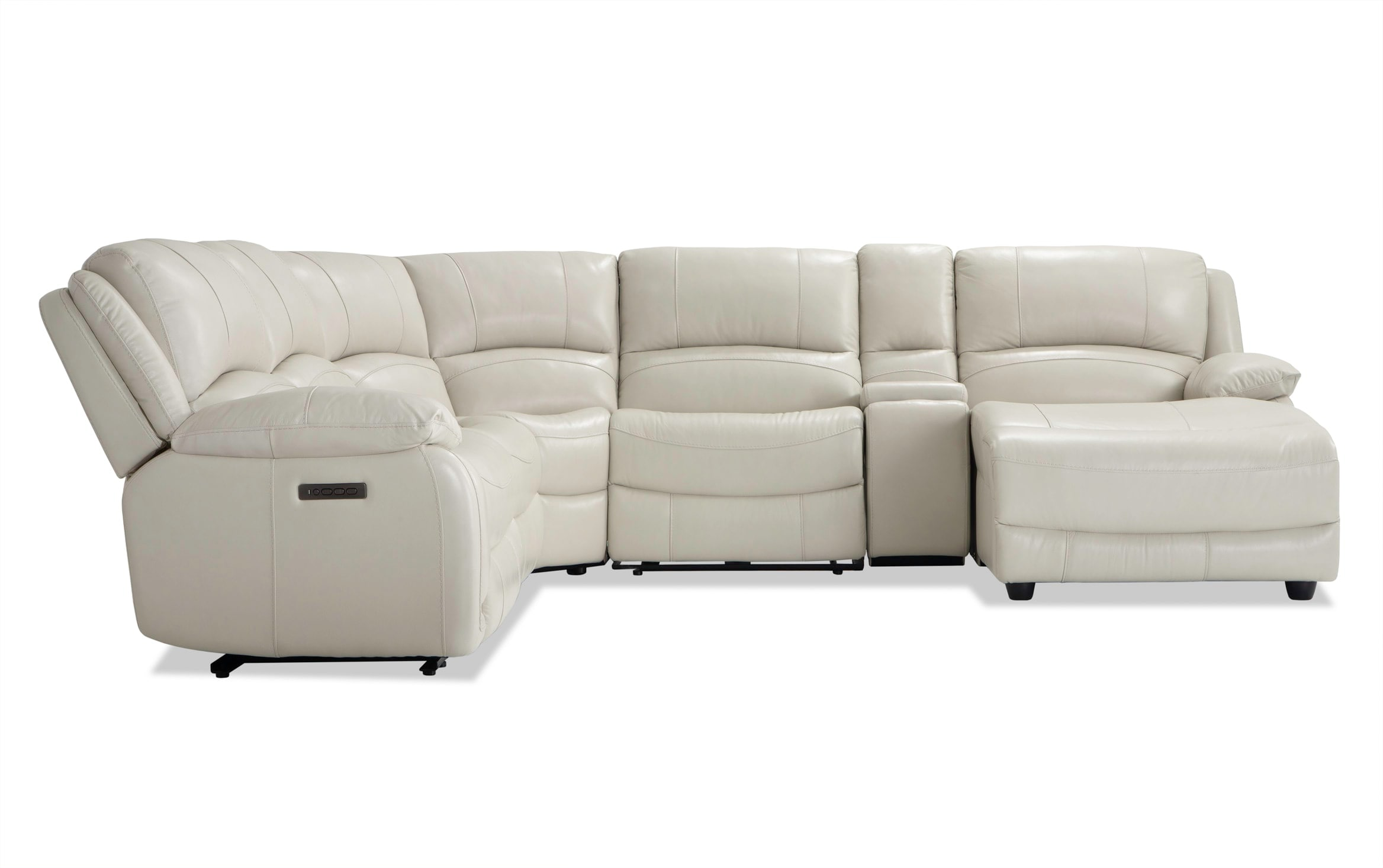 titan ice leather 6 piece power reclining left arm facing sectional