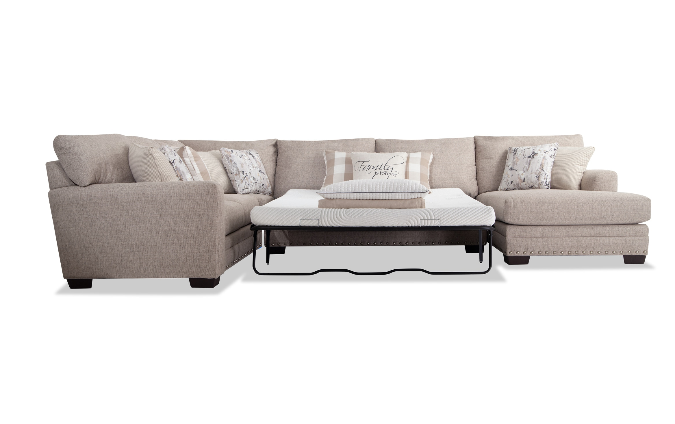 cottage chic 4 piece left arm facing bob o pedic queen sleeper sectional