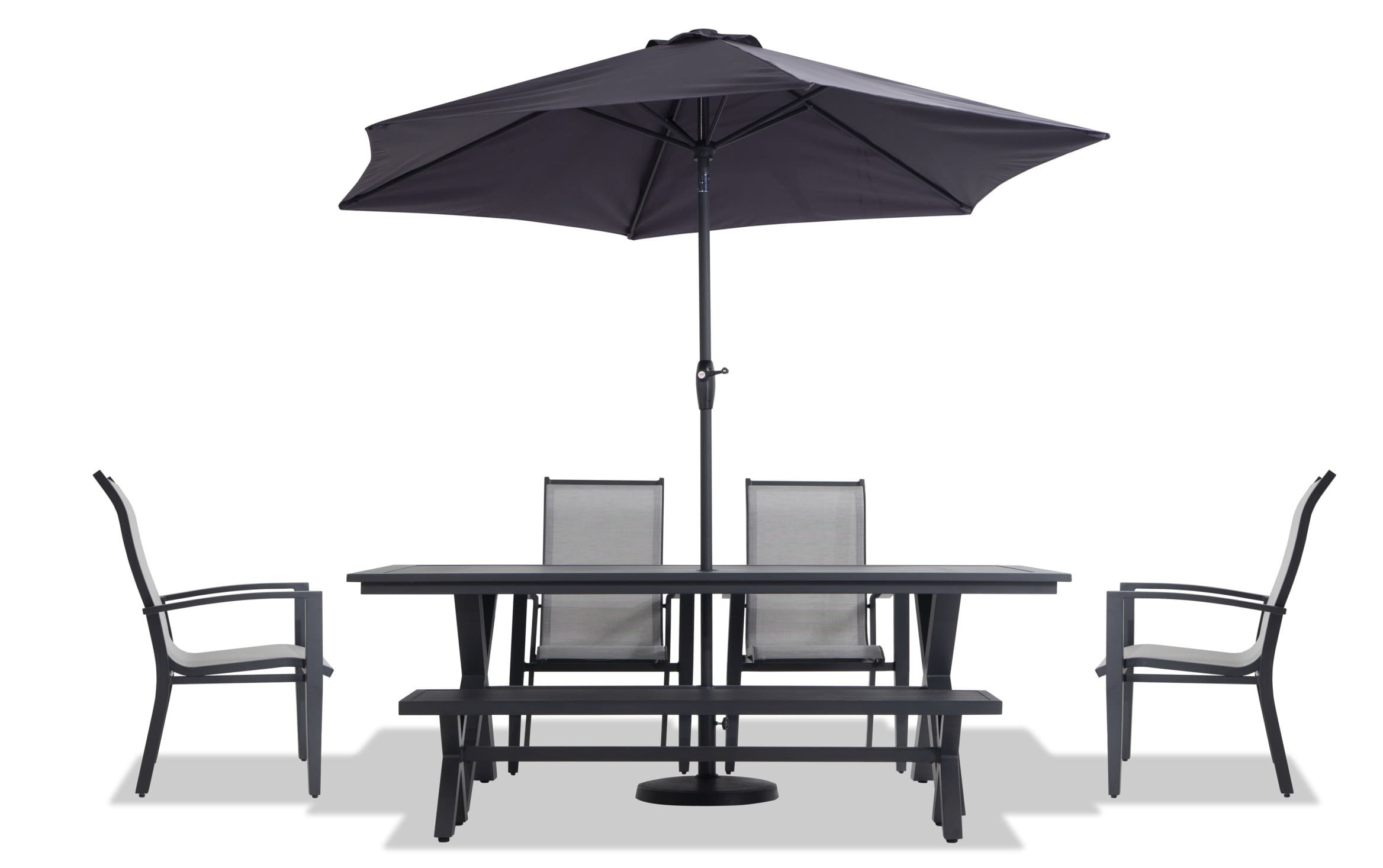 hollywood 8 piece outdoor dining set with cover umbrella and base