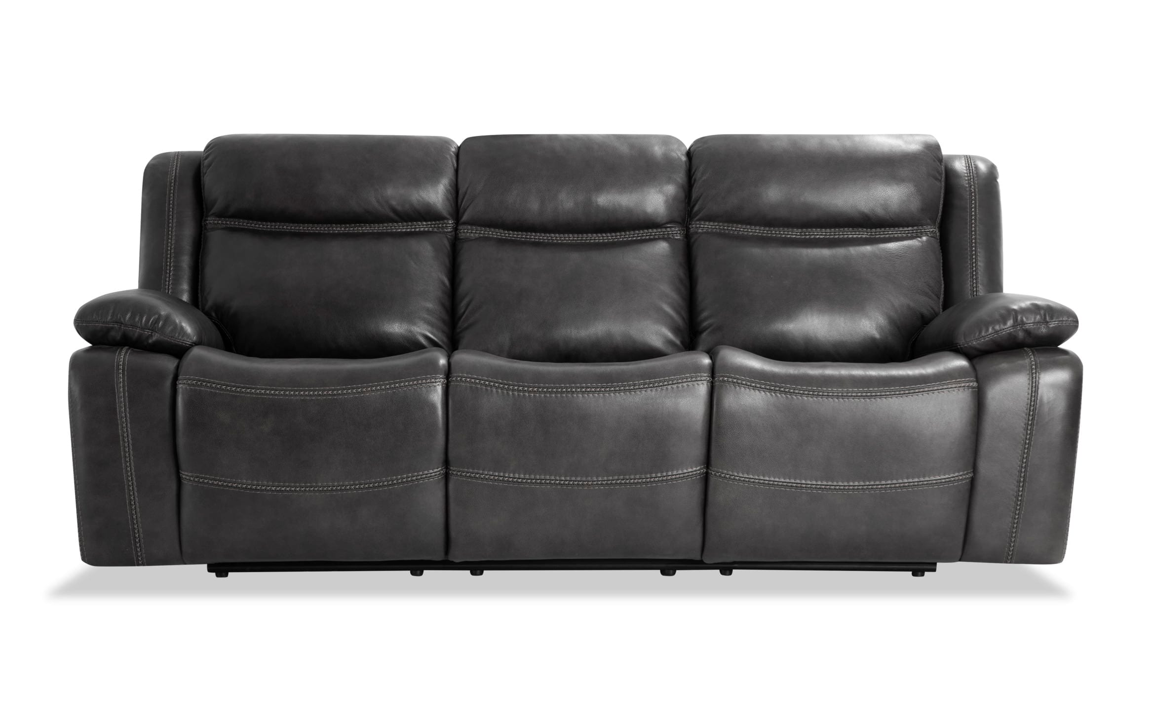 trailblazer gray leather power reclining sofa