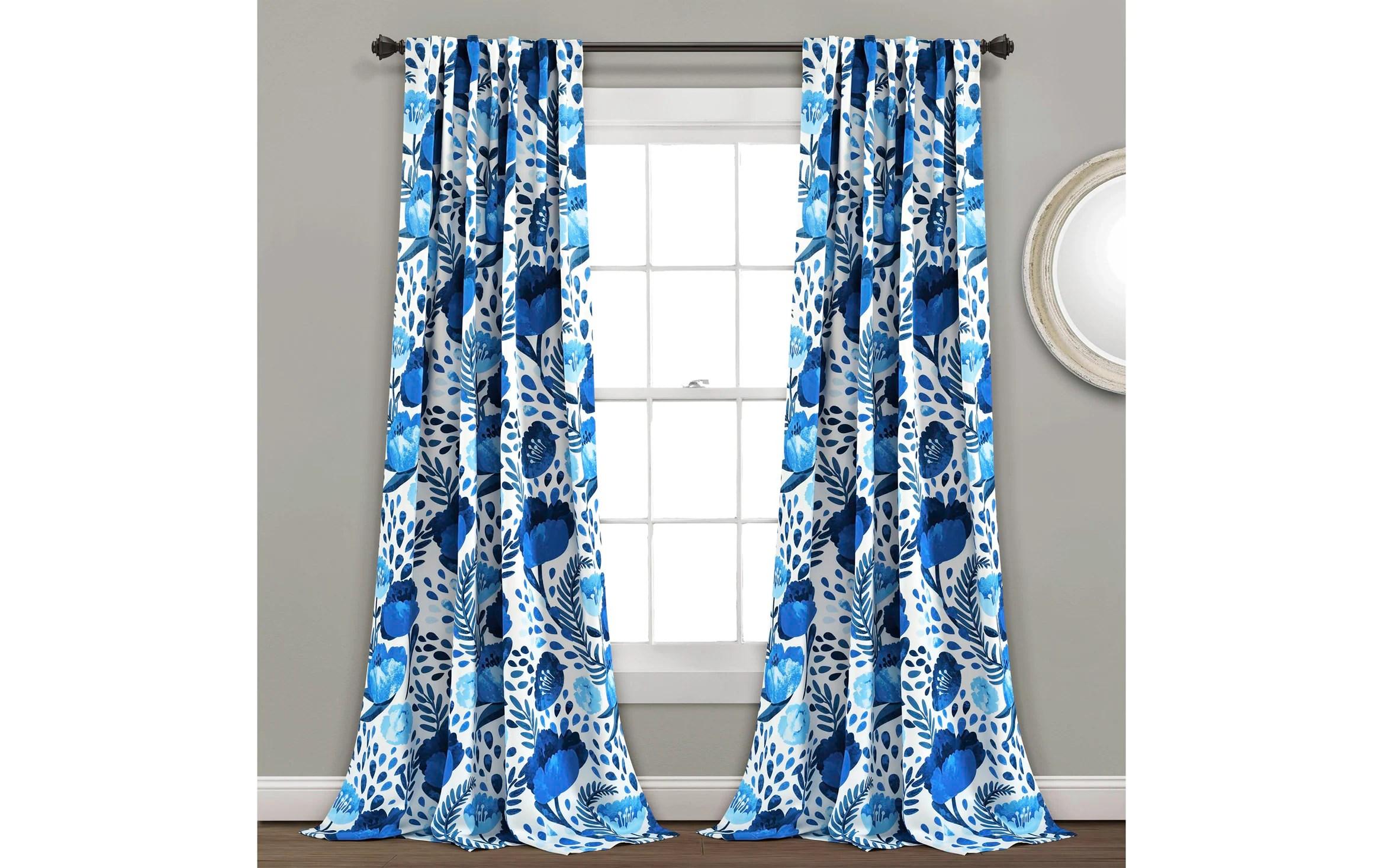 set of 2 poppy 52 x 84 blue curtain panels
