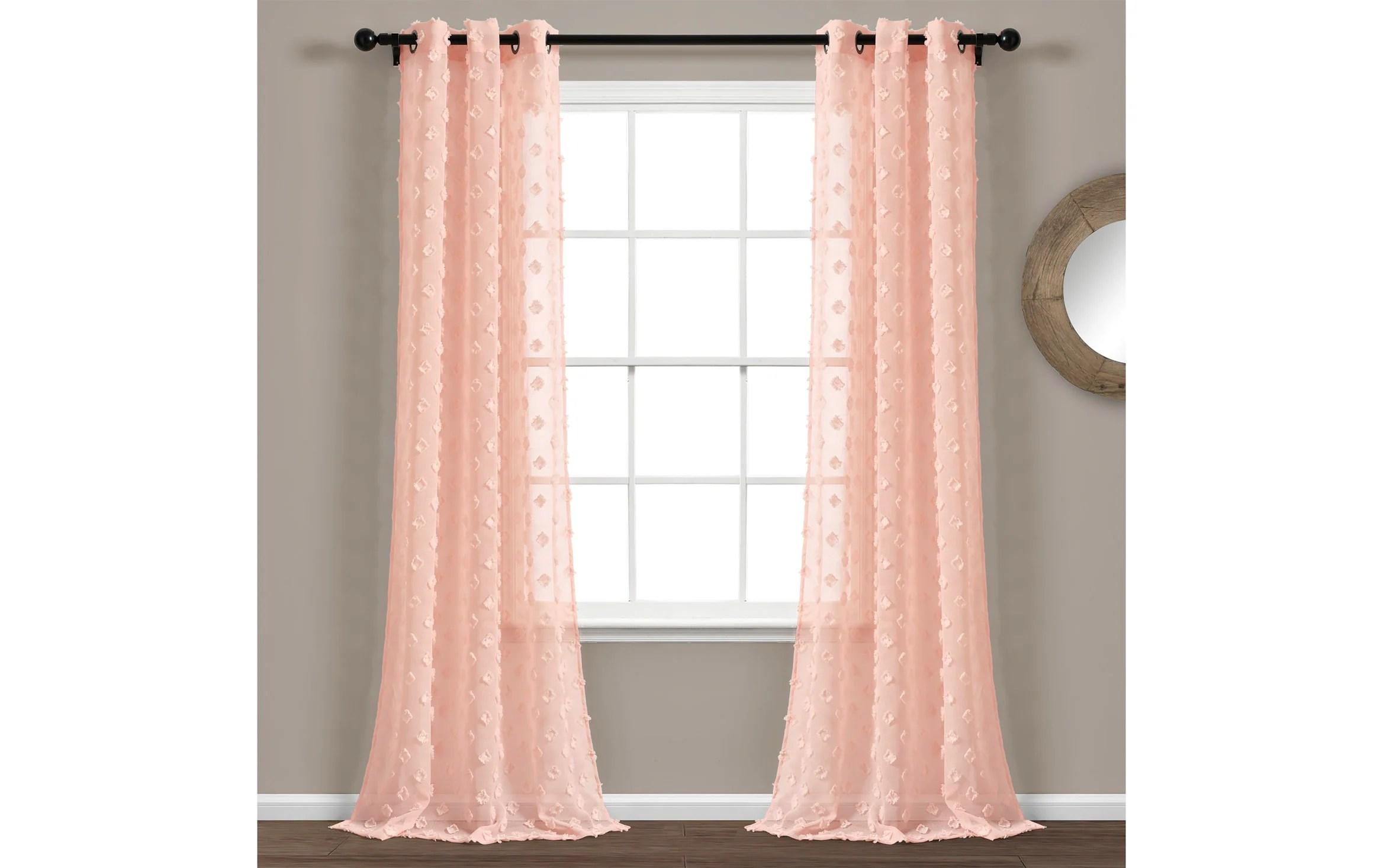 set of 2 les 38 x 84 blush curtain panels