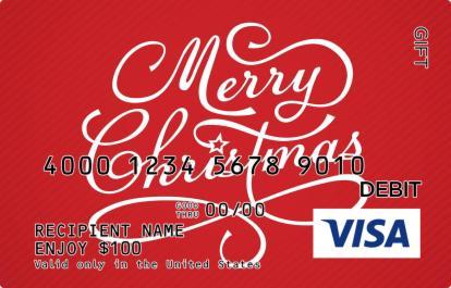 Cursive Merry Christmas Visa Gift Card