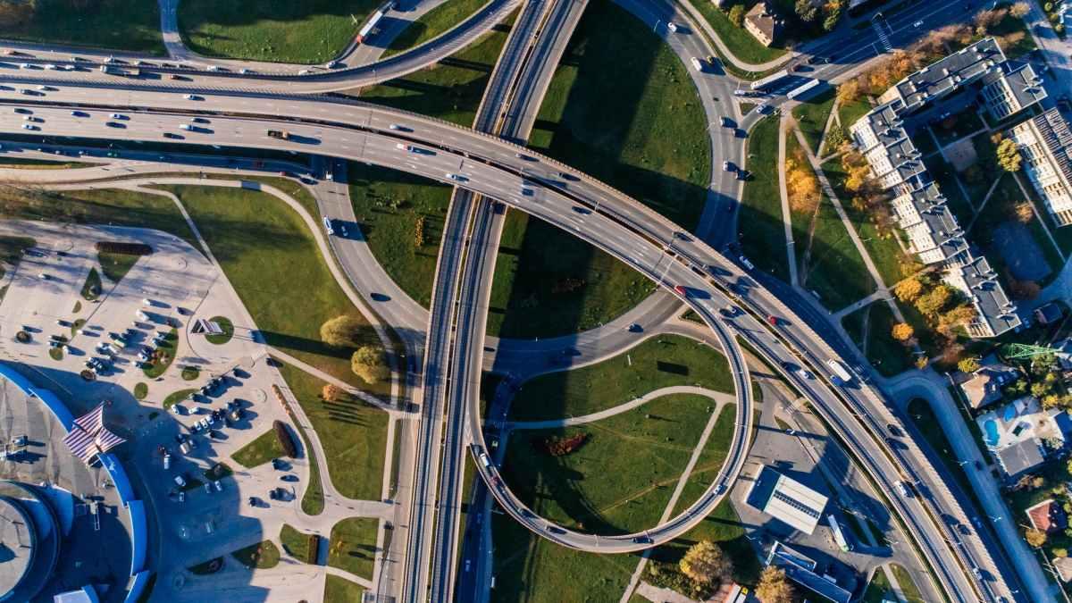aerial photography of concrete bridge