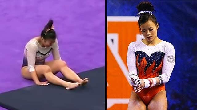 """Résultat de recherche d'images pour """"Cette gymnaste s'est brisée les deux jambes sur sa réception devant un public horrifié"""""""